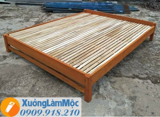 giường gỗ tràm giả rẻ
