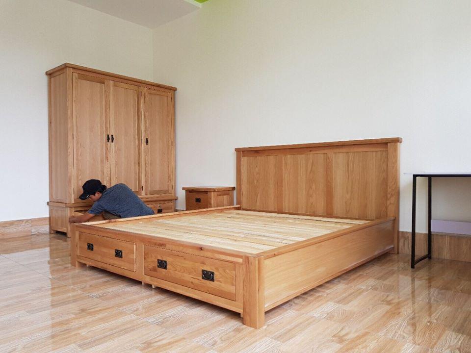Tủ áo quần nhà khách hàng , cùng với giường ngủ gỗ sồi có ngăn kéo chứa đồ