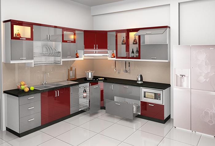 Mẫu tủ bếp bằng chất liệu inox