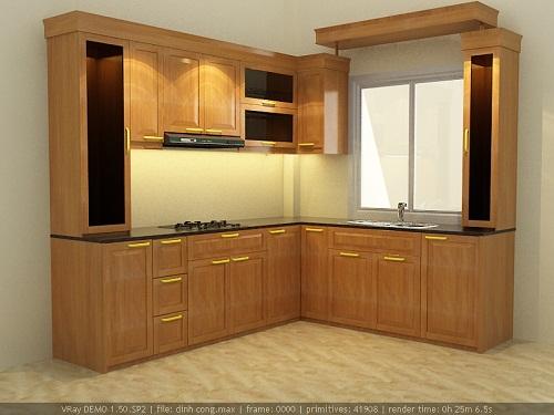 tủ bếp cho chất liệu gỗ cho căn hộ nhỏ