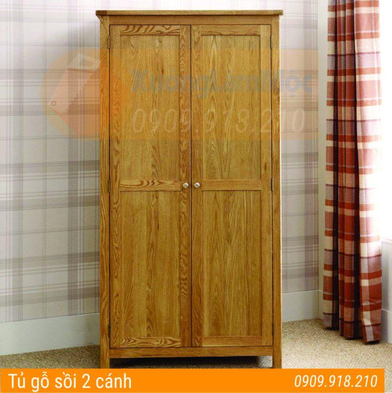 tủ gỗ sồi 2 cánh