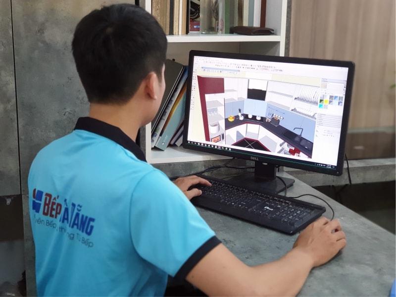 Thiết kế tủ bếp 3D tư vấn khách hàng
